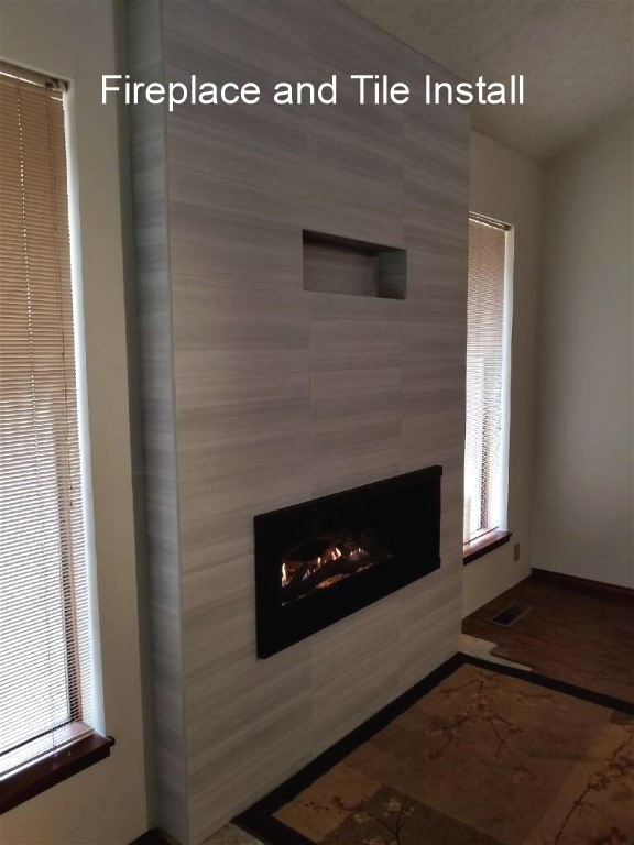 Fireplace and tile installation